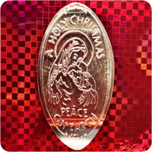 Madonna & Child. A Holy Christmas, Peace on Earth. Copper Re-rolled from Old Die