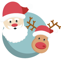 Santa Claus and Rudolph the Red-Nosed Reindeer